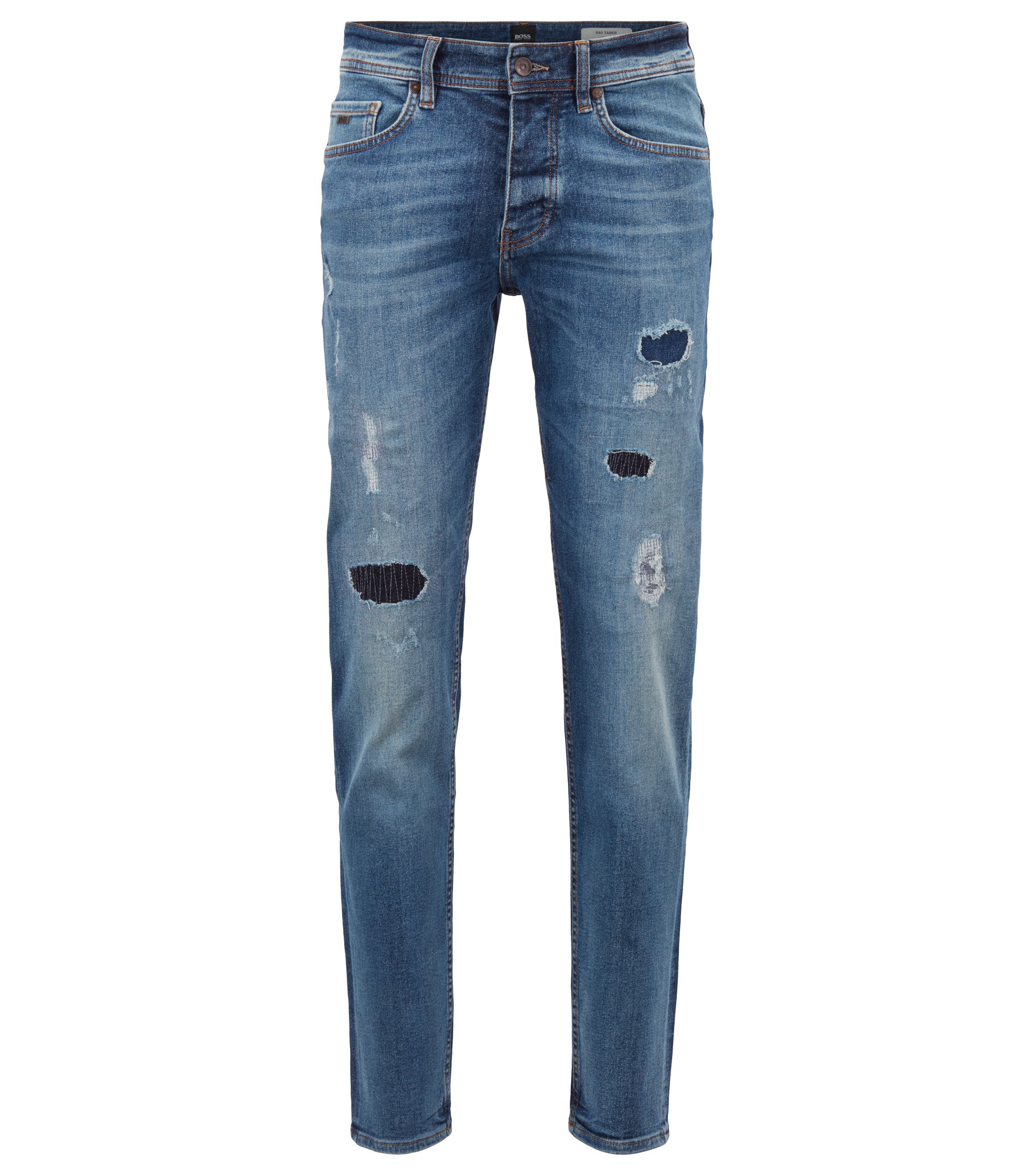 Tapered-fit jeans van gerecycled stretchdenim, Blauw