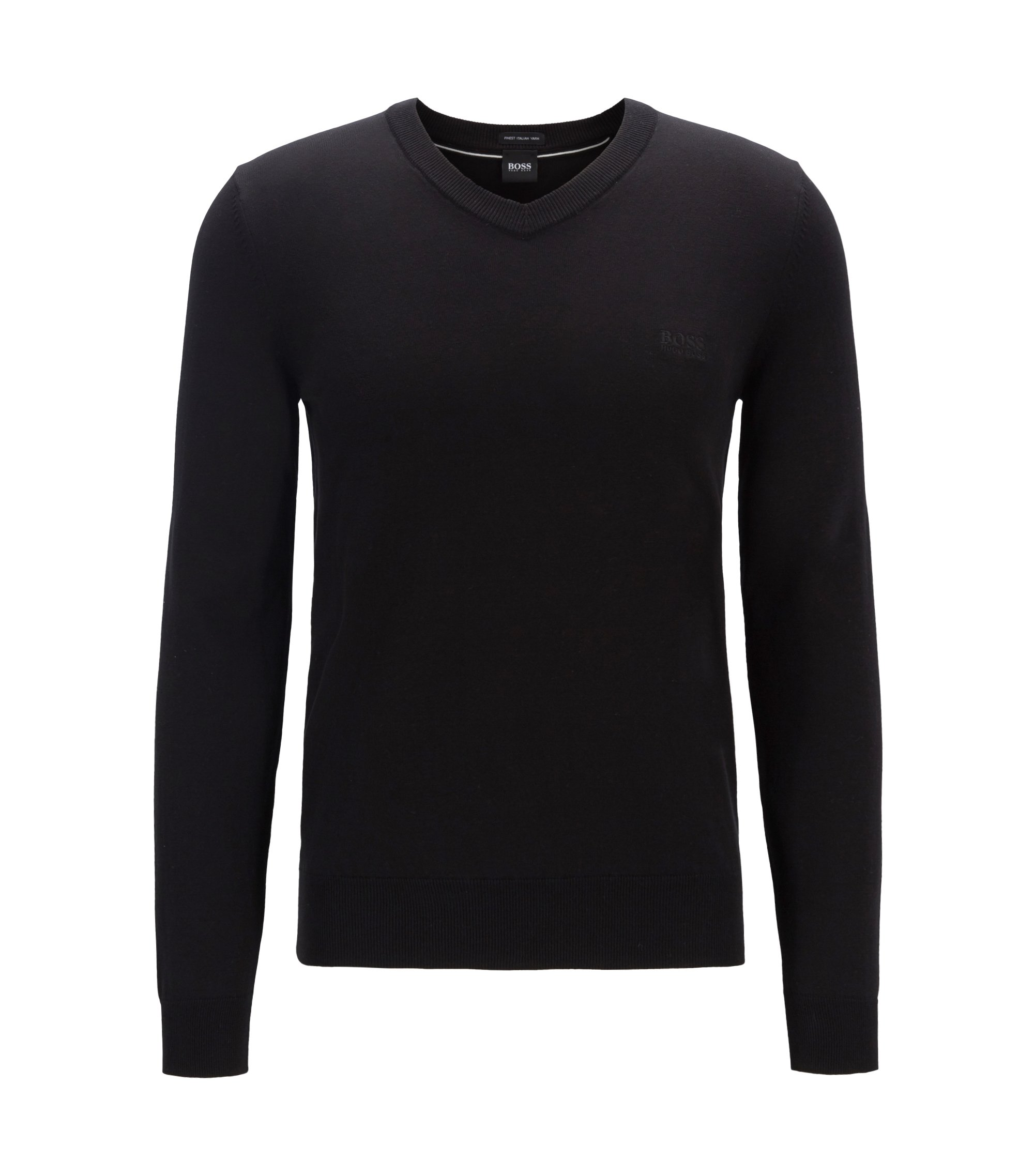 Cotton V-neck sweater with tonal embroidery, Black