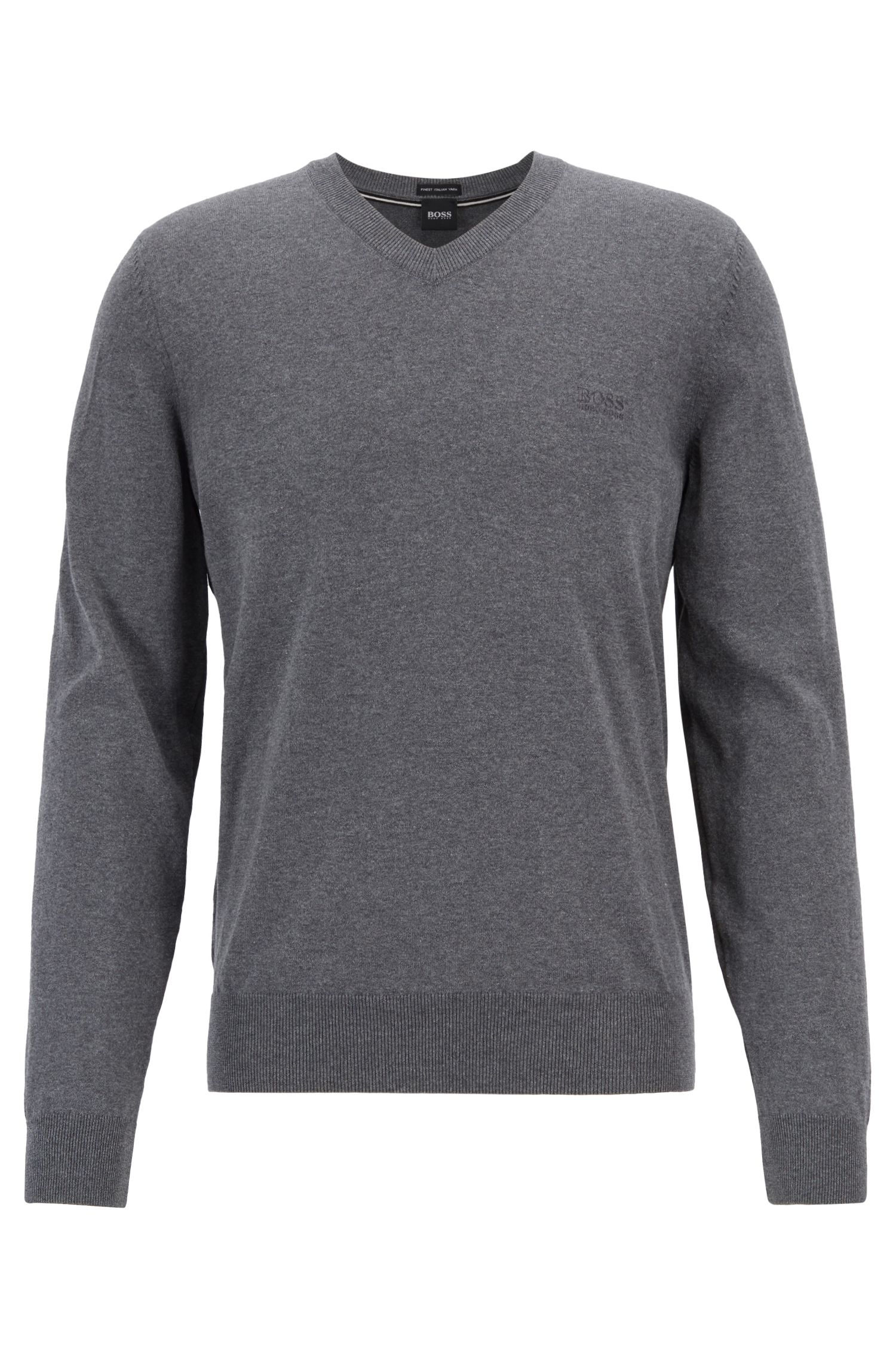 Cotton V-neck sweater with tonal embroidery, Grey