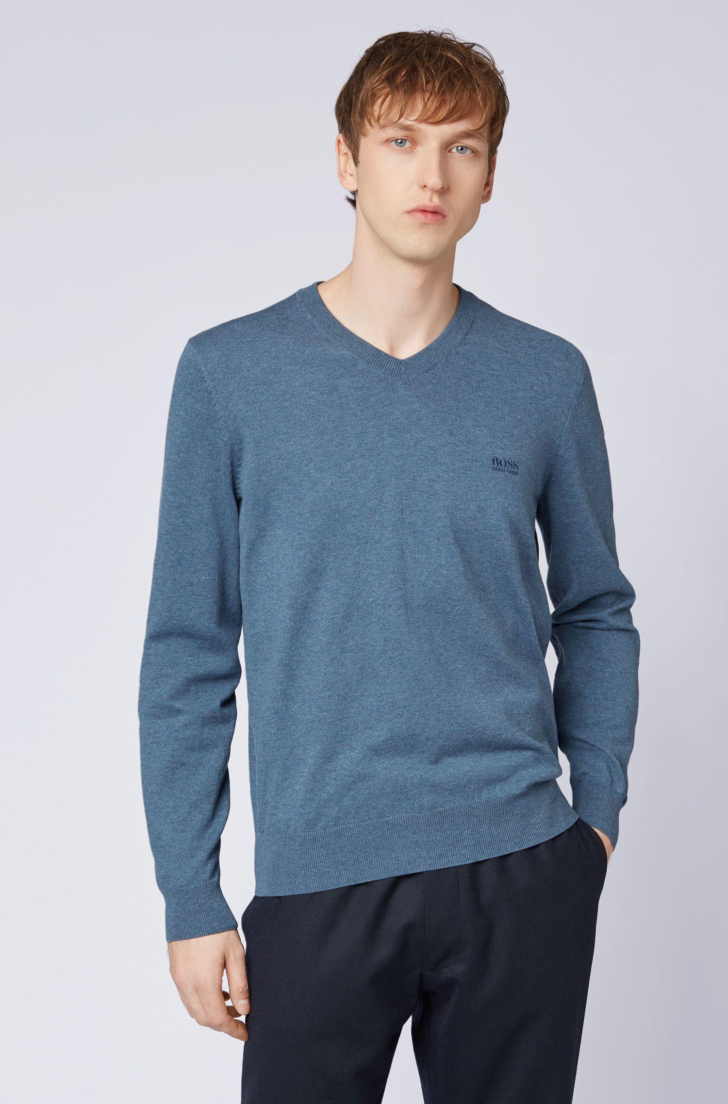 Pullover aus Baumwolle mit V-Ausschnitt und tonaler Stickerei, Blau