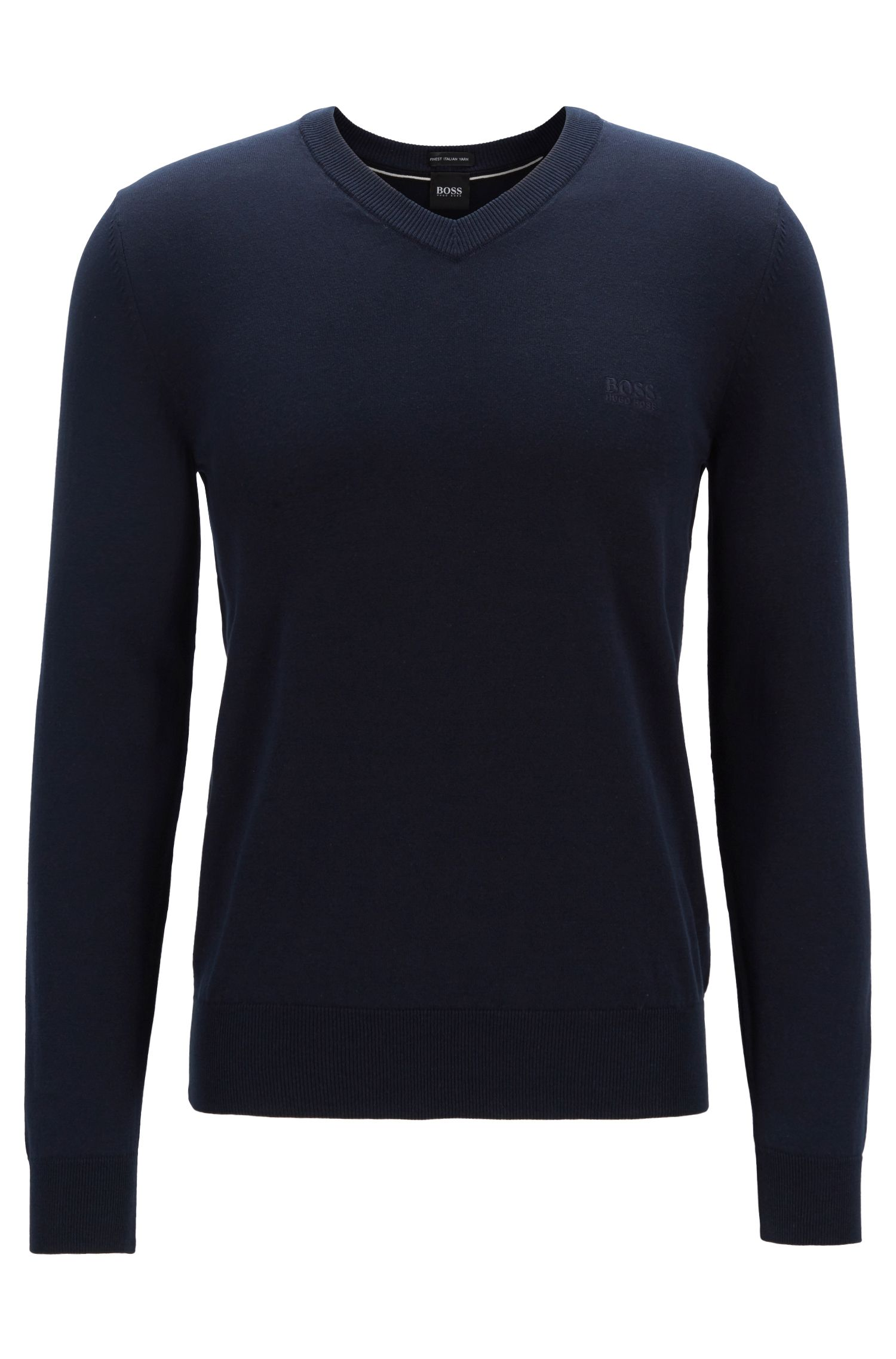 Cotton V-neck sweater with tonal embroidery, Blue