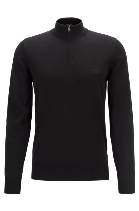 Zip-neck sweater in single-jersey cotton, Black