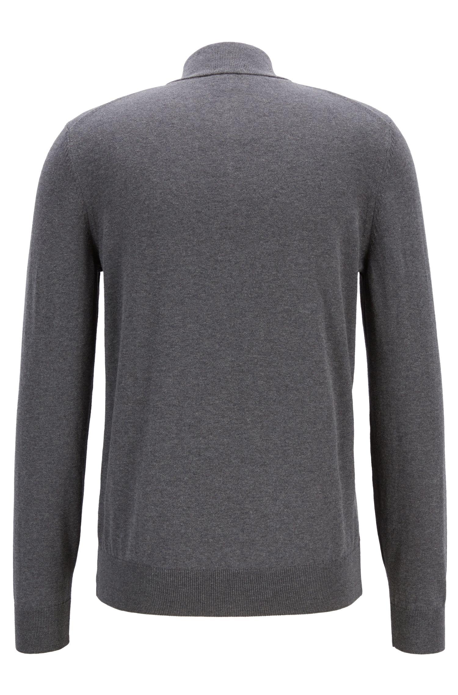 Pullover aus Single Jersey mit Troyerkragen, Grau