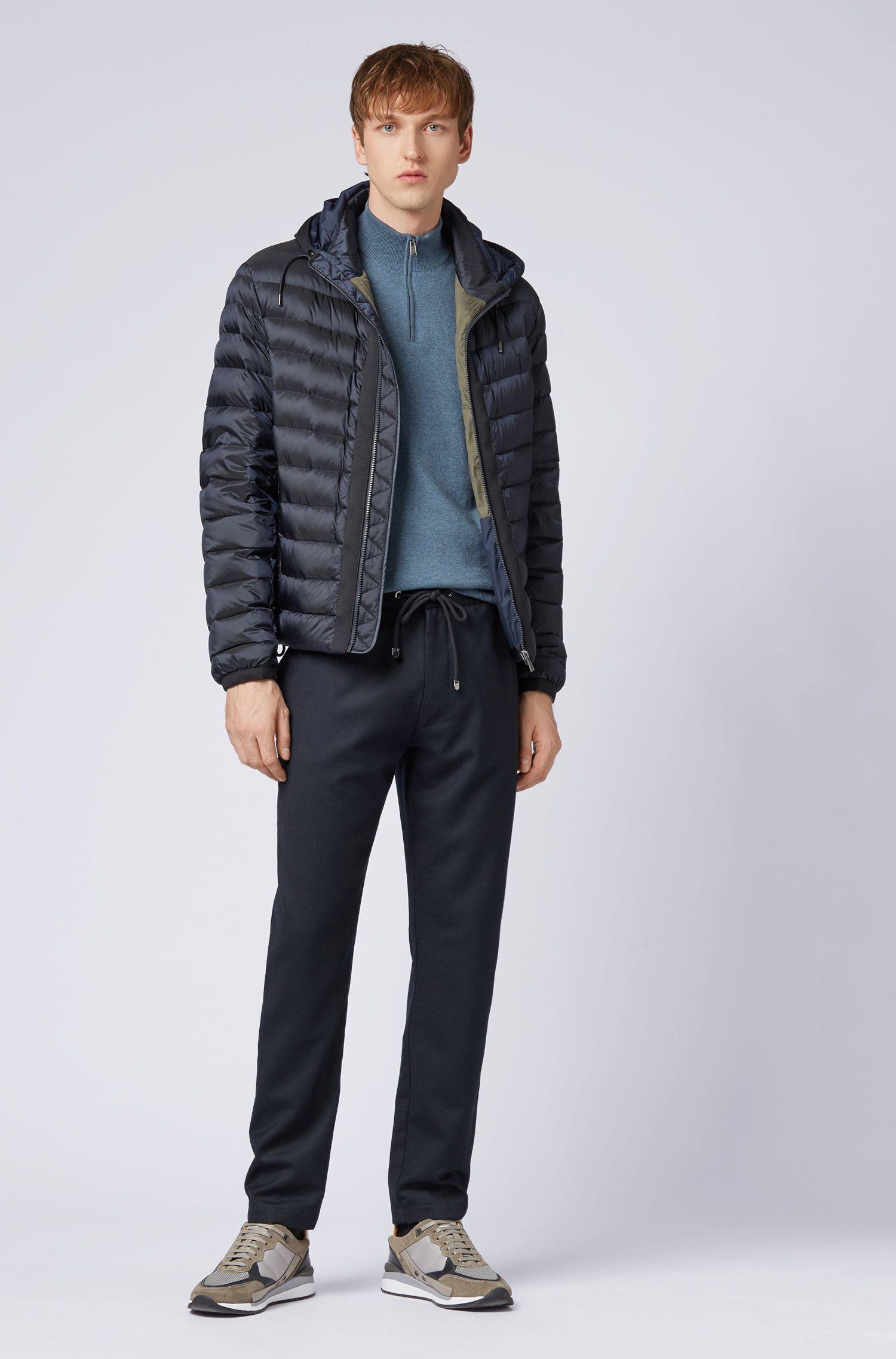Pull à encolure zippée en jersey simple de coton, Bleu vif