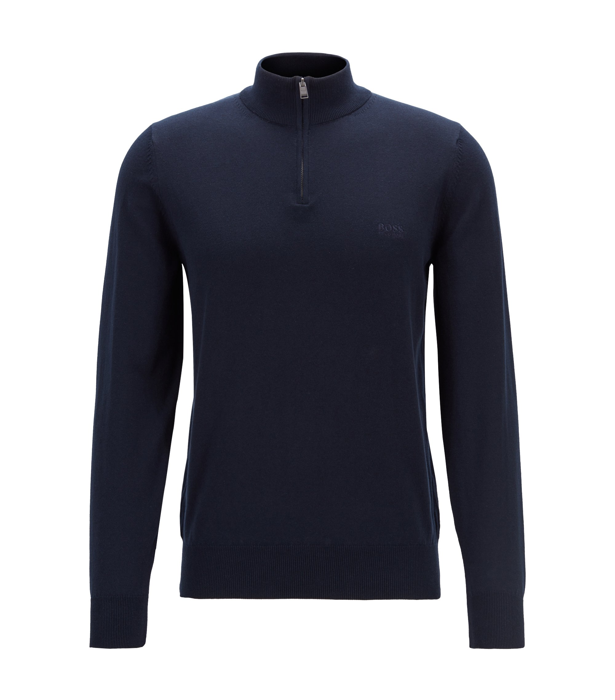 Zip-neck sweater in single-jersey cotton, Dark Blue