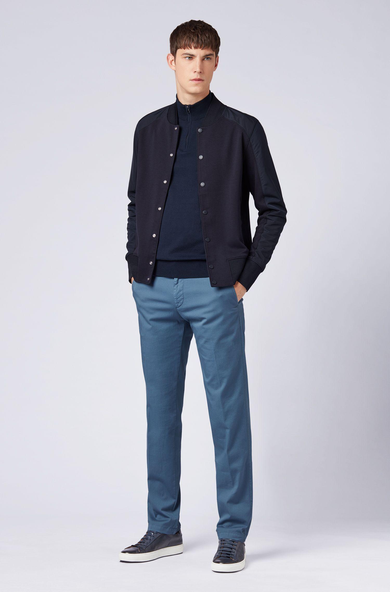 Pull à encolure zippée en jersey simple de coton, Bleu foncé