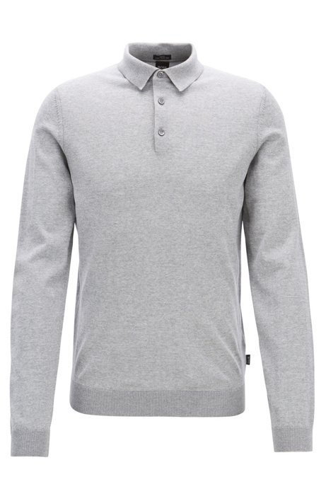 Merino-wool sweater with polo collar, Silver