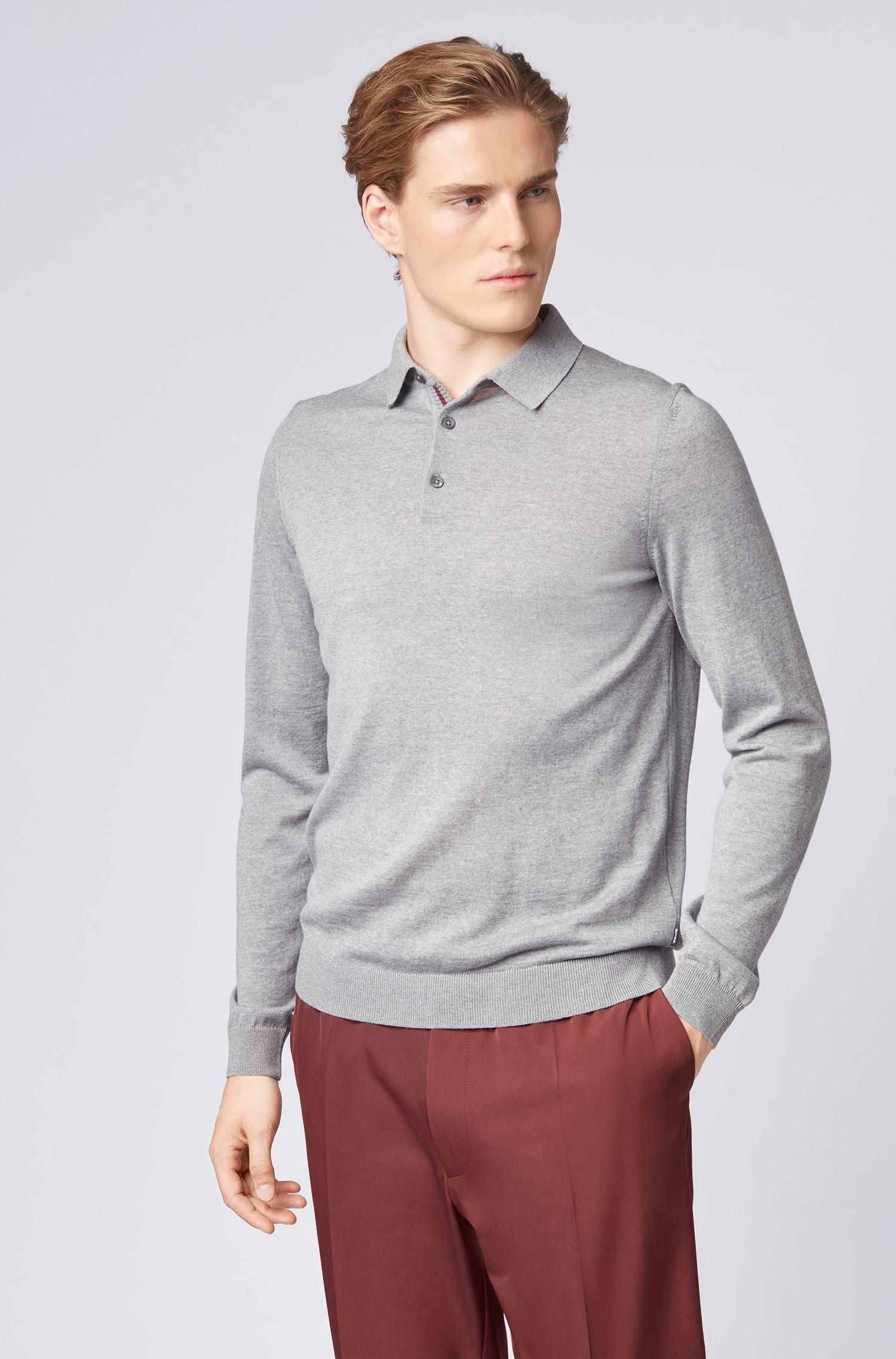 Merino-wool sweater with polo collar, Silver