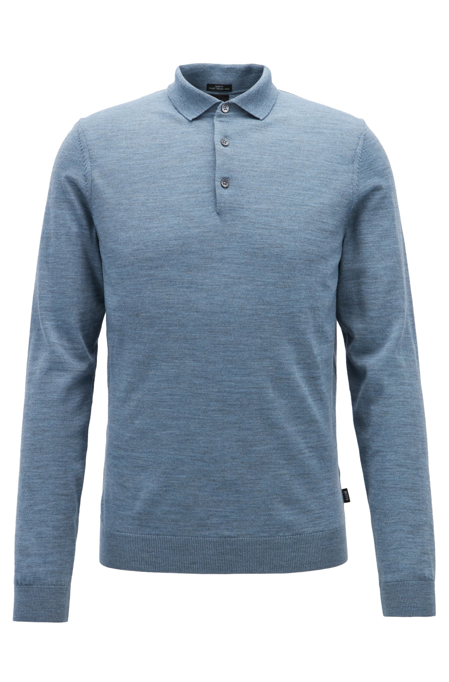 Merino-wool sweater with polo collar, Blue