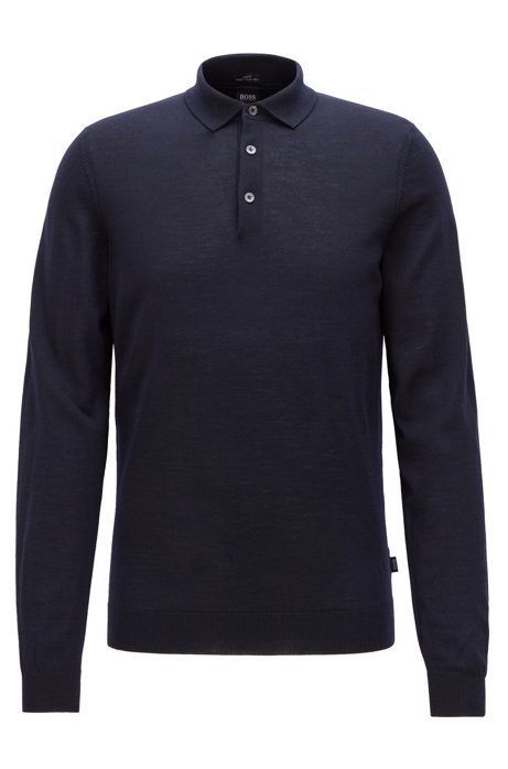 Merino-wool sweater with polo collar, Dark Blue