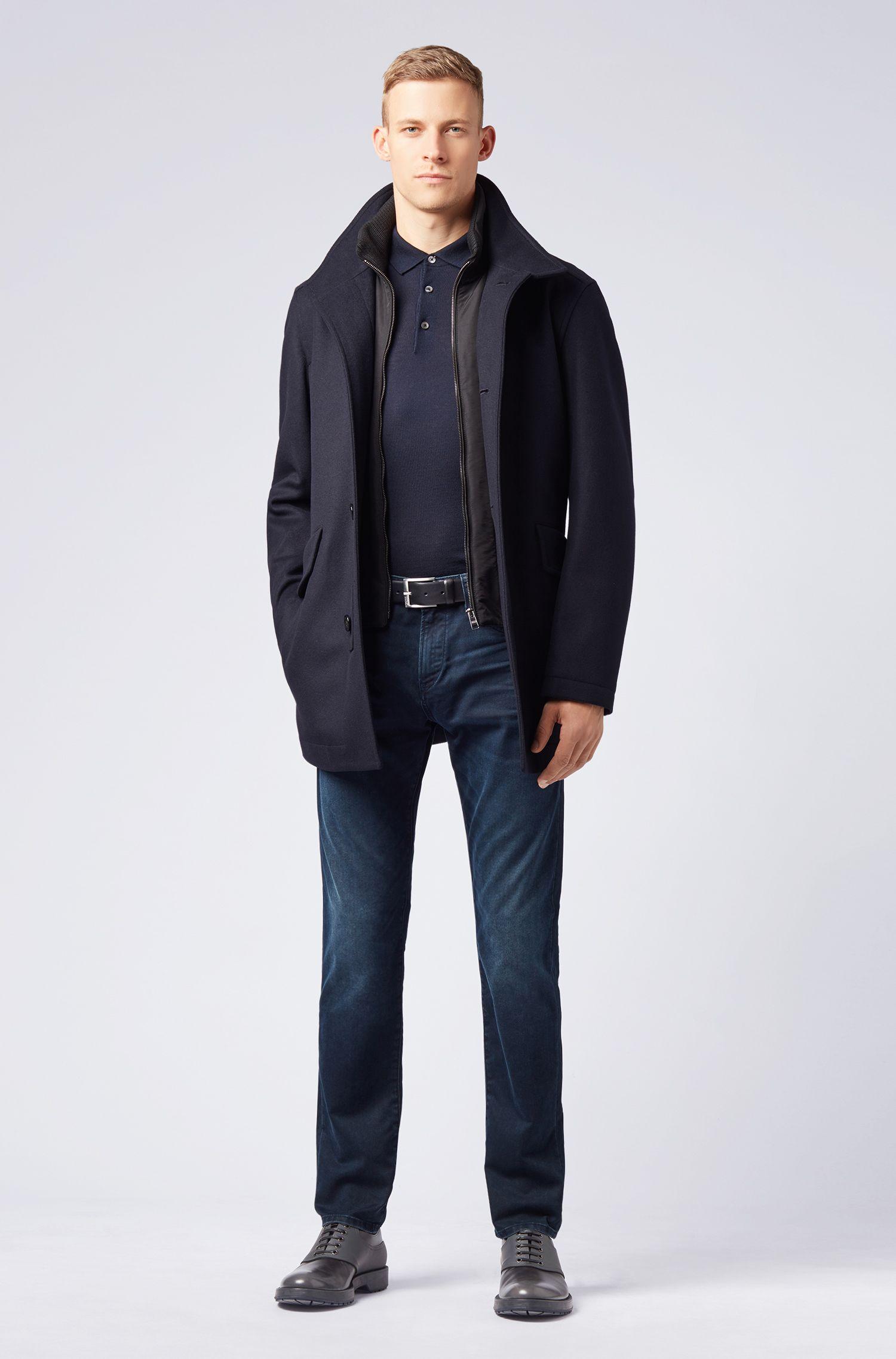 Jersey de lana merina con cuello de polo, Azul oscuro