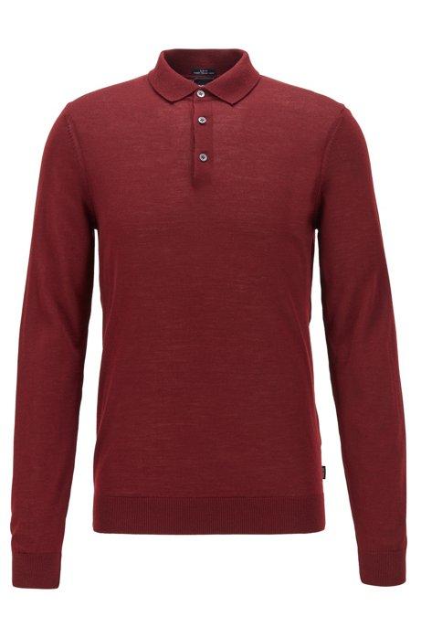 Maglione in lana merino con colletto polo, Rosso scuro