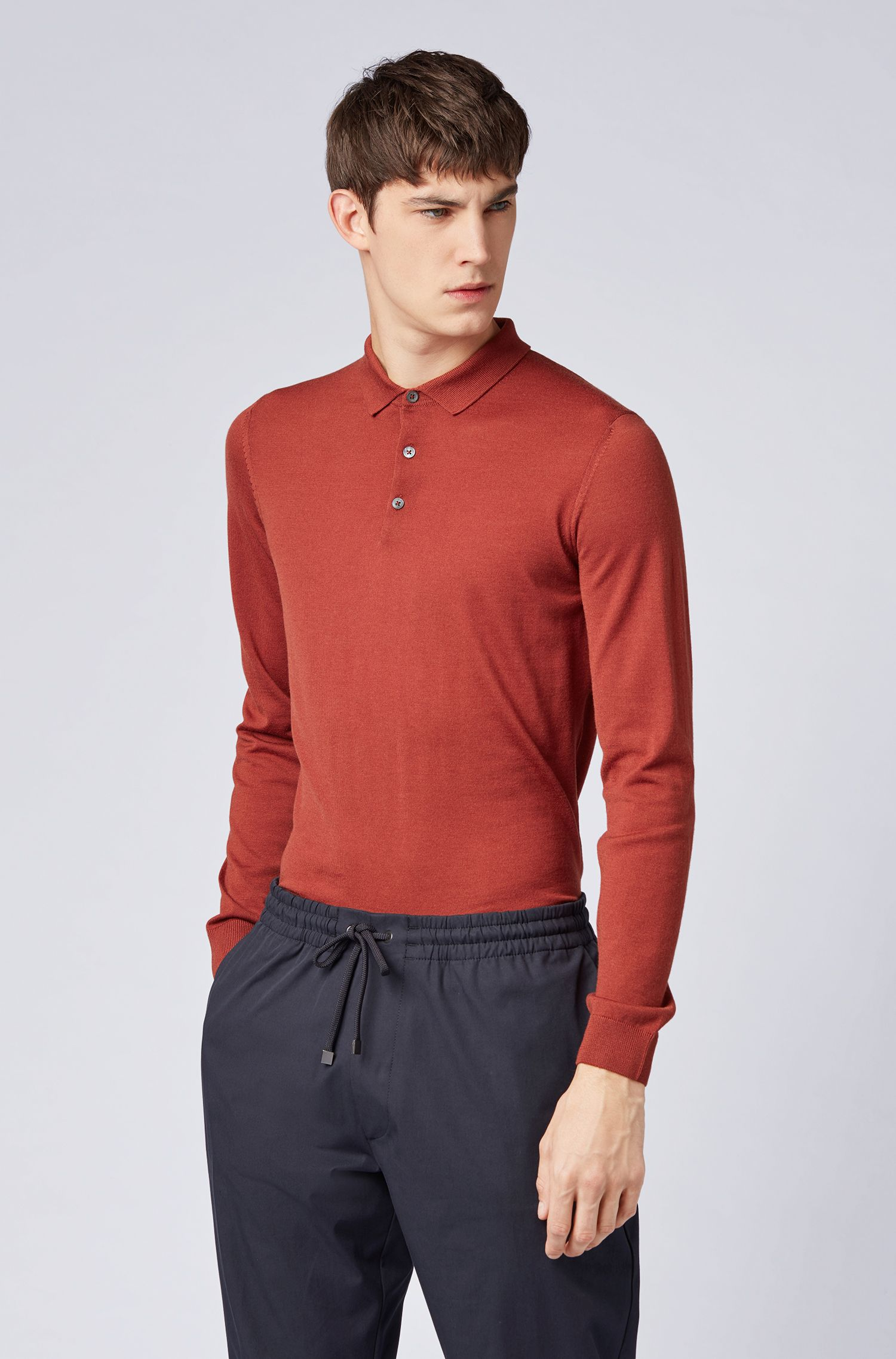 Merino-wool sweater with polo collar, Dark Red