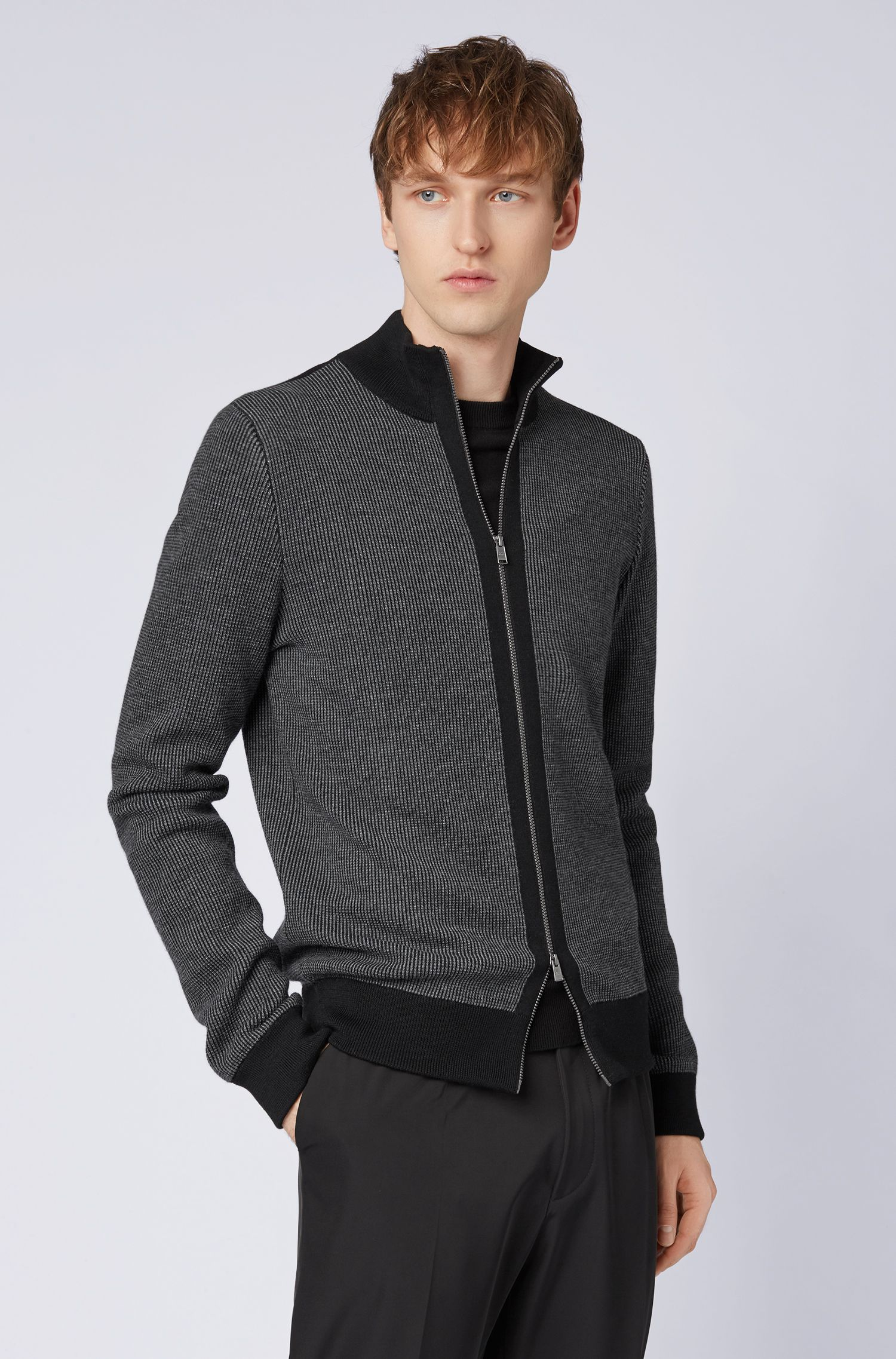 Cardigan zippé en laine mérinos bicolore, Noir
