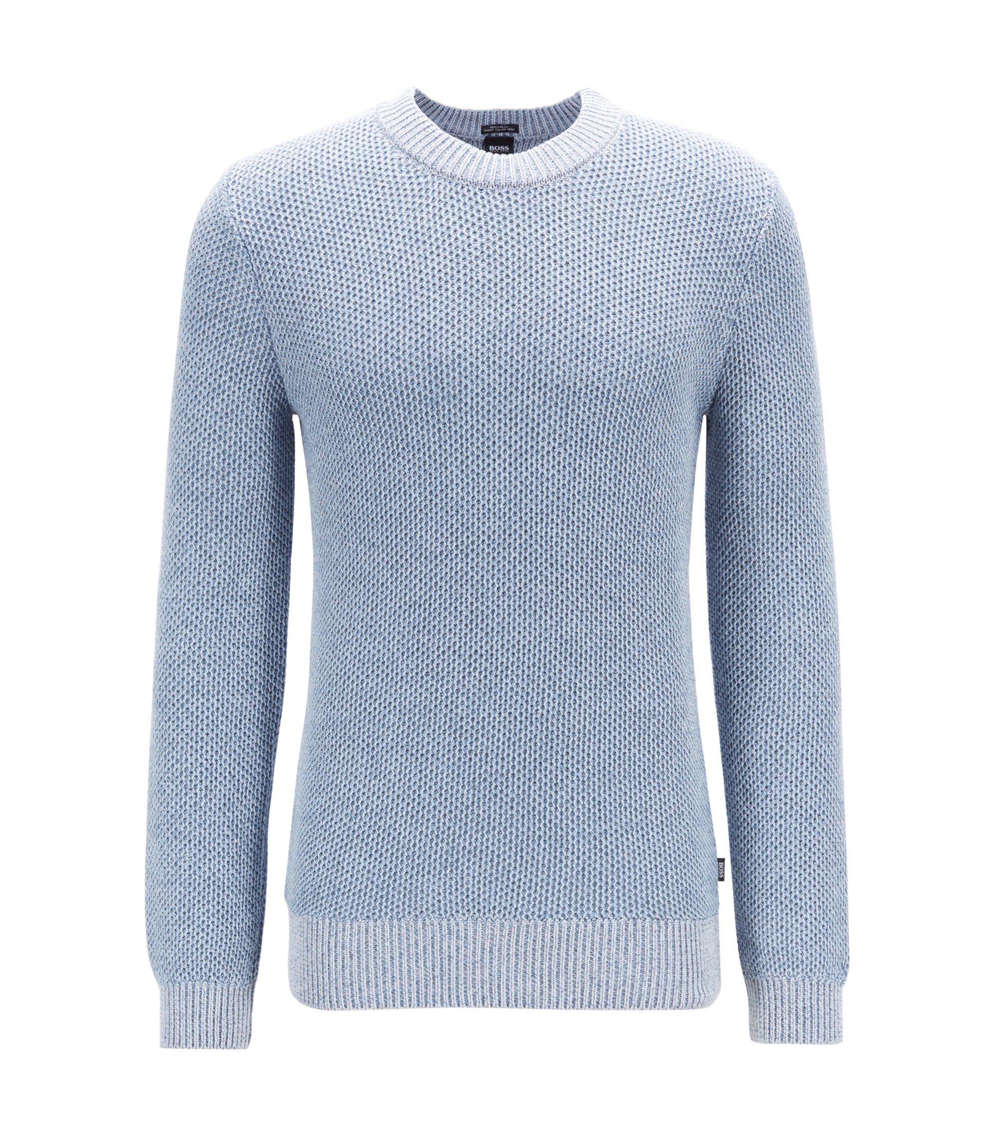 Regular-fit trui van gebreide moulinékatoen, Lichtblauw
