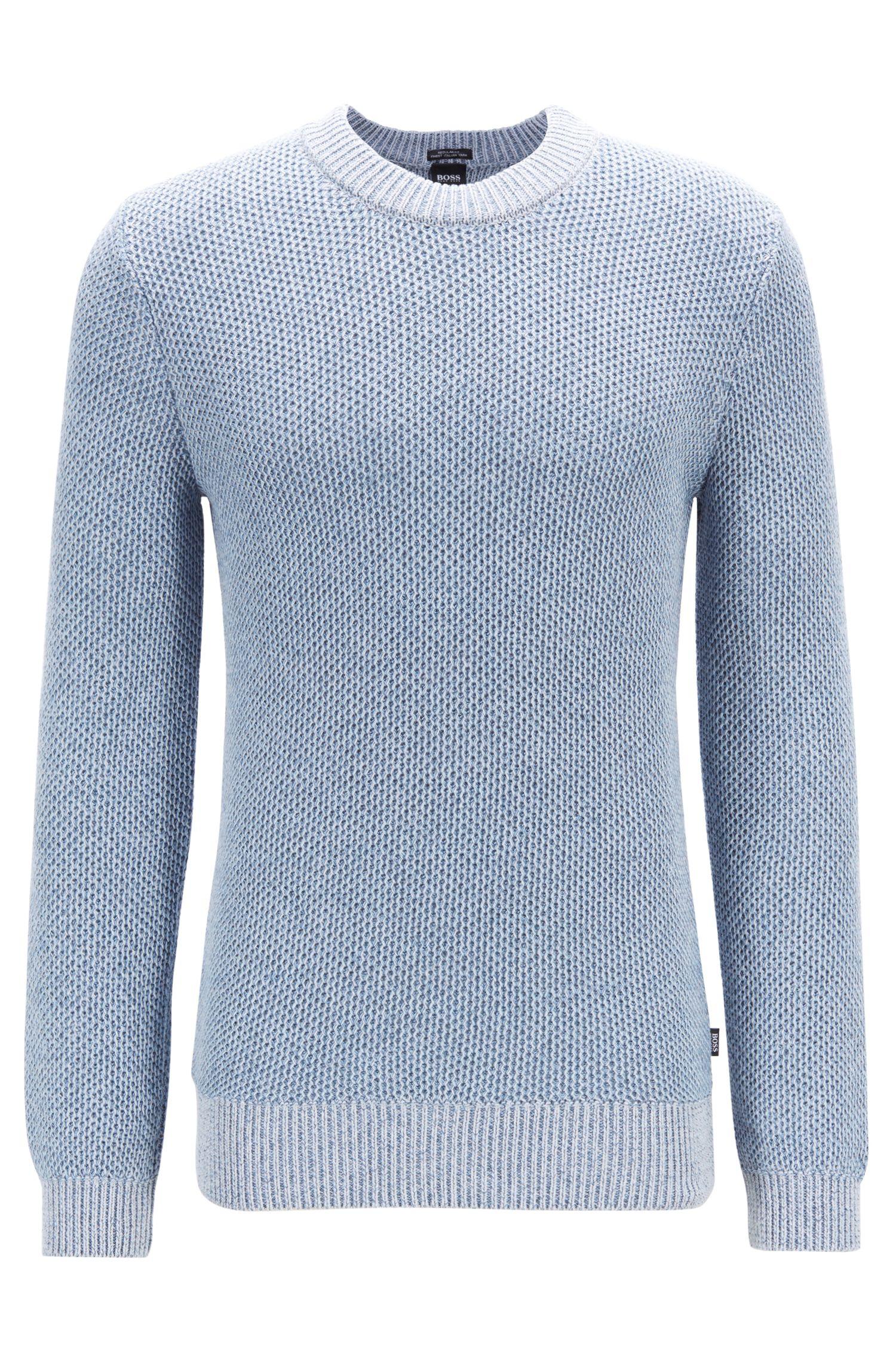 Maglione regular fit in cotone mouliné lavorato a maglia, Celeste