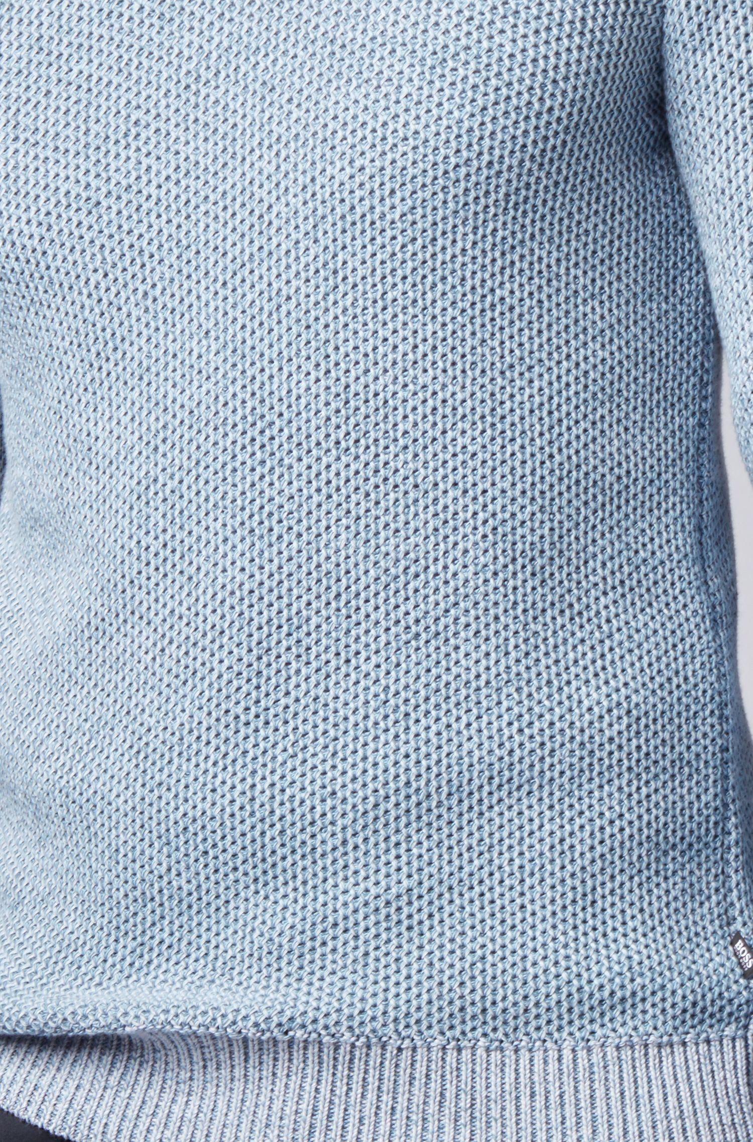Jersey regular fit en algodón mouliné de punto, Celeste