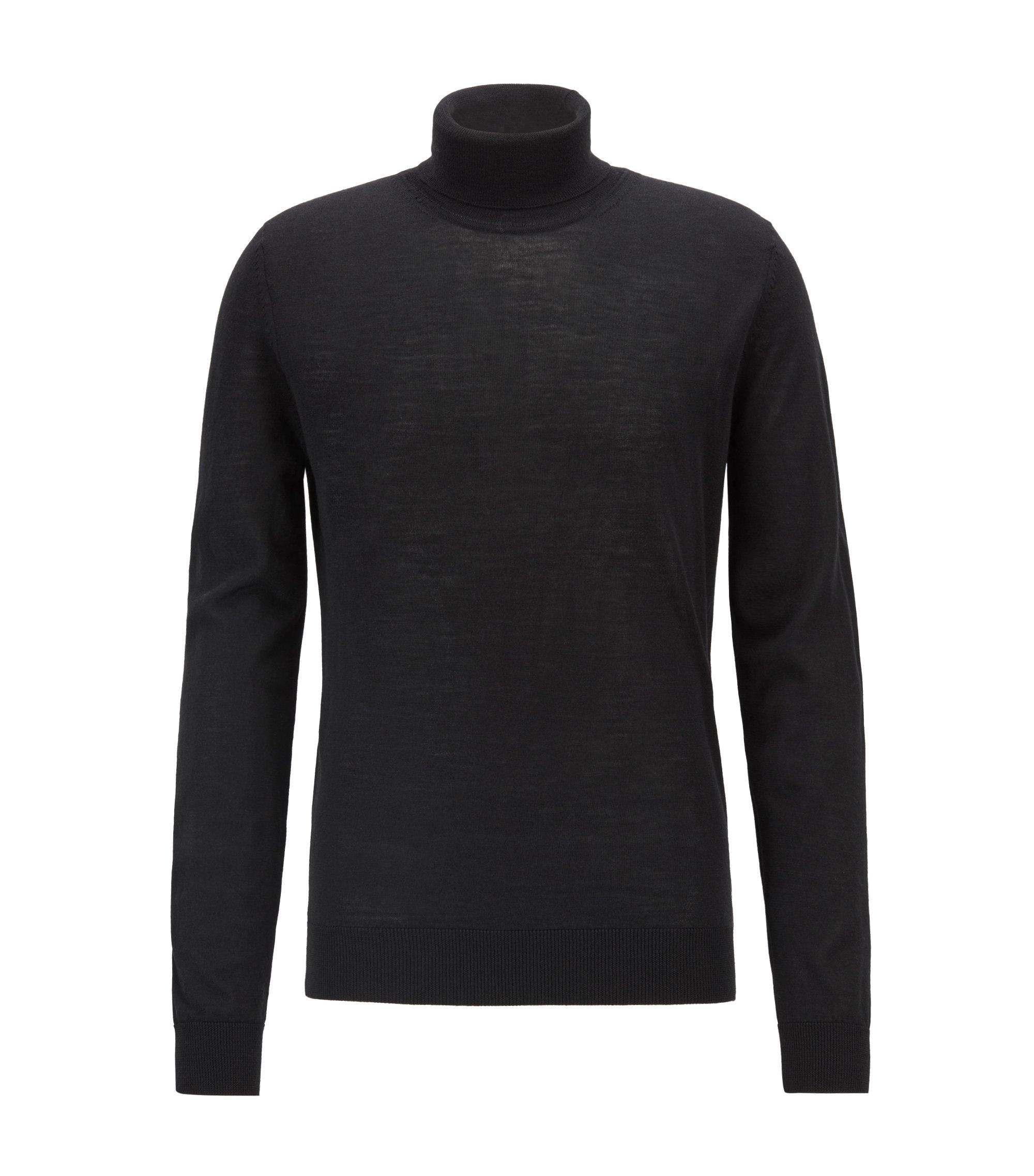 Pull dip dyed à col cheminée, en laine vierge mélangée à de la soie, Noir