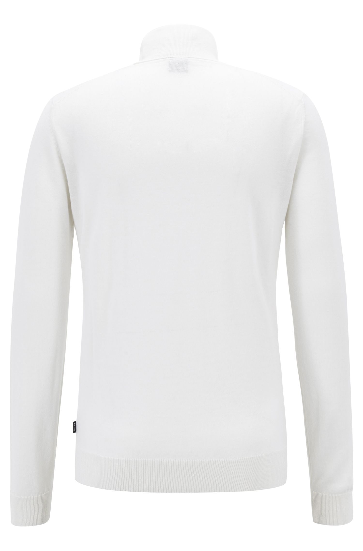 Dip-dyed turtleneck sweater in virgin wool with silk, White