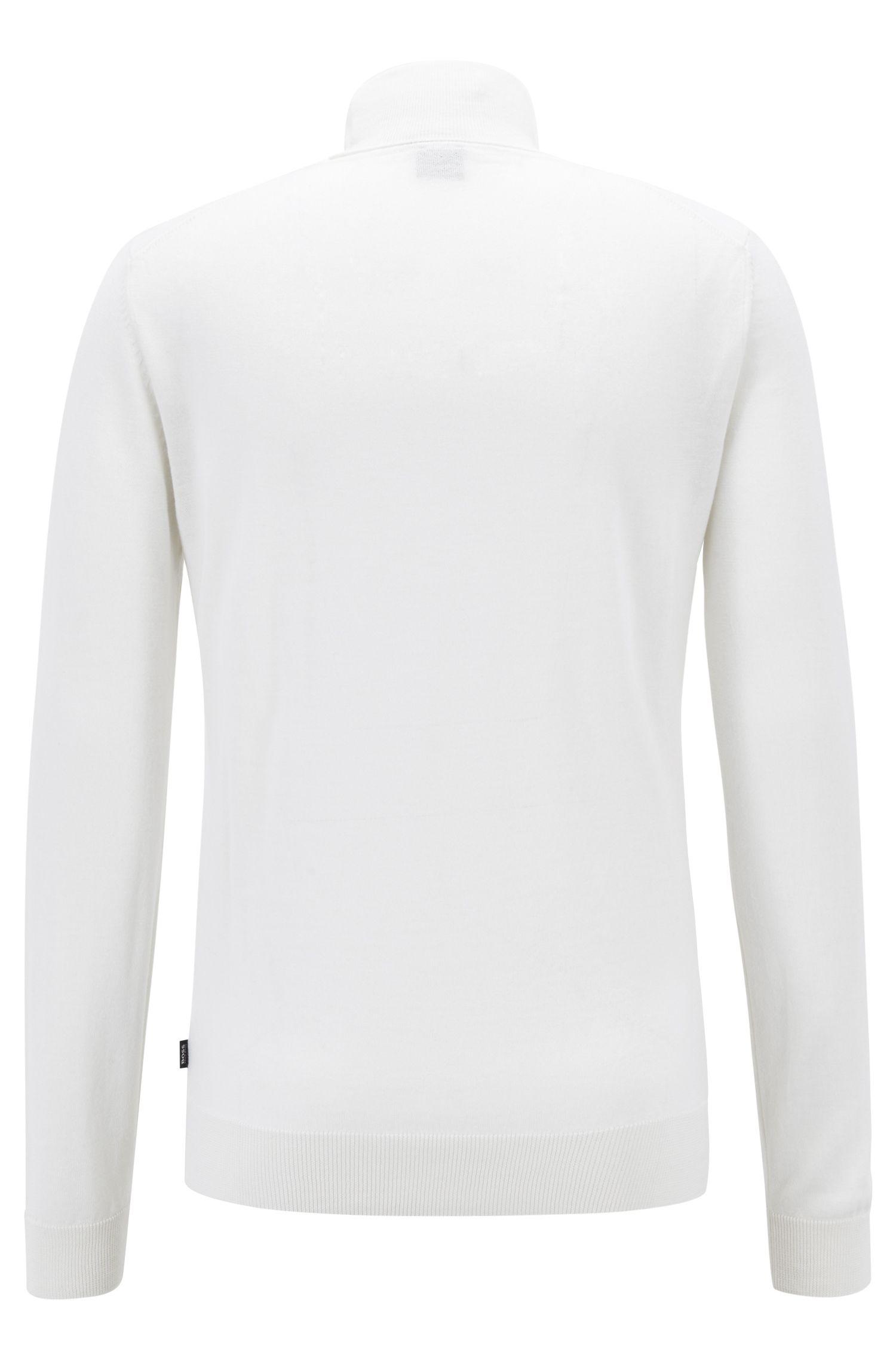 Rollkragenpullover aus Schurwolle mit Seide im Dip-Dye-Look, Weiß