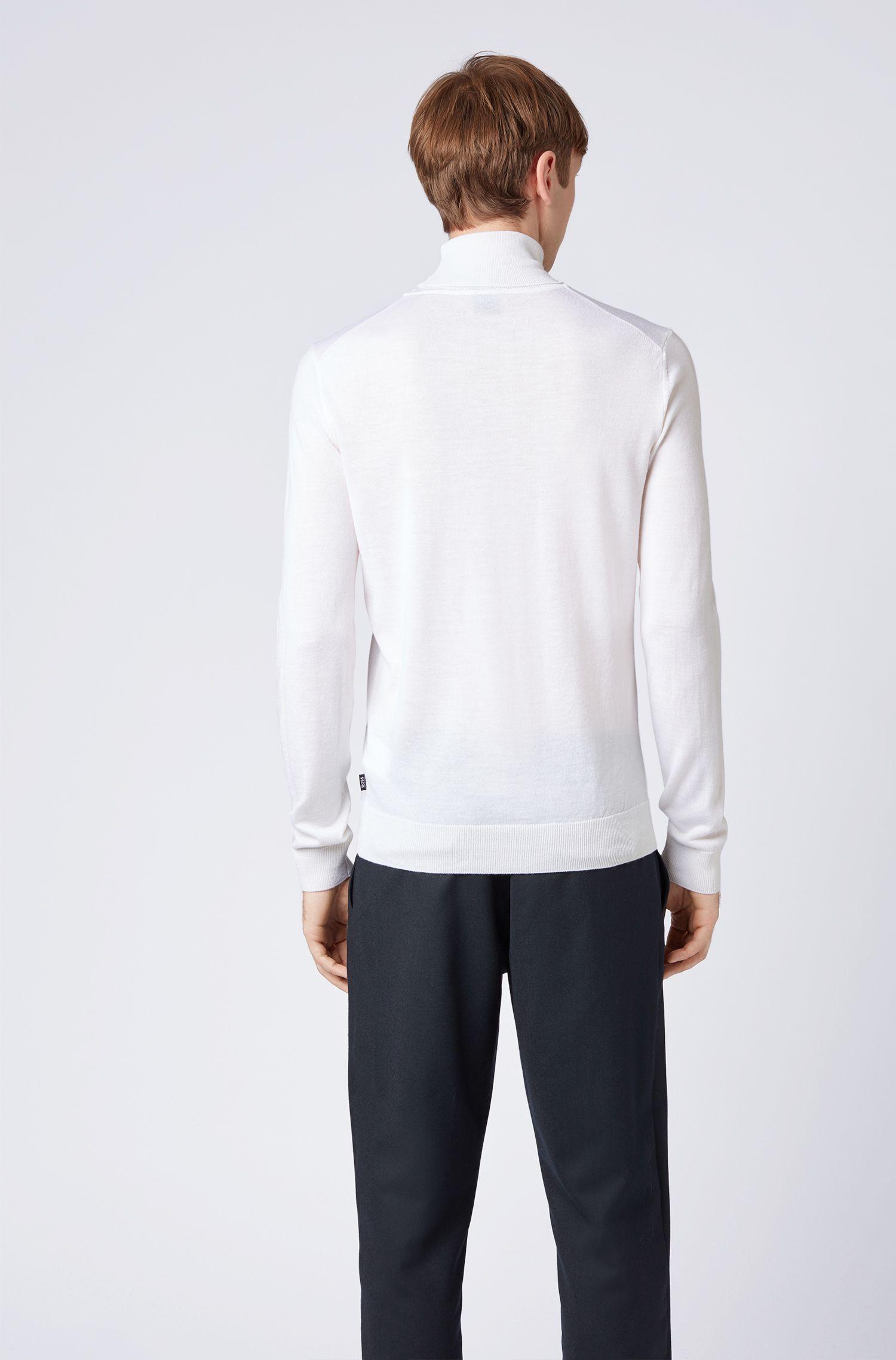 Dip-dyed coltrui van scheerwol met zijde, Wit