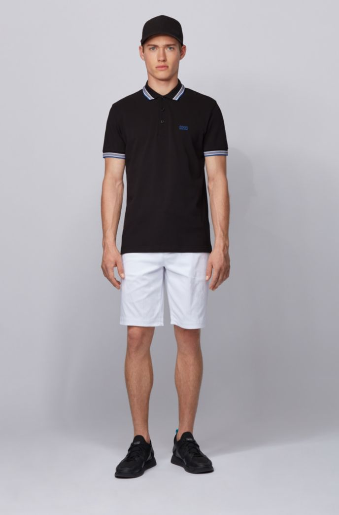 Cotton-piqué polo shirt with logo undercollar
