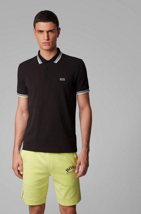 Poloshirt aus Baumwoll-Piqué mit Logo an der Kragenunterseite, Schwarz