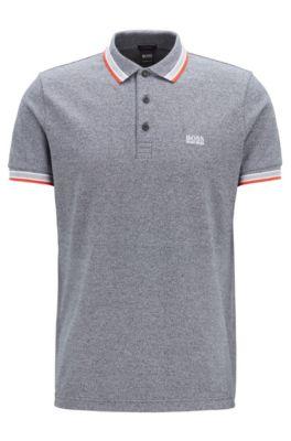 Polo en piqué de coton, avec logo au niveau du sous-col, Noir