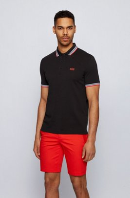 Cotton-piqué polo shirt with logo undercollar, Black