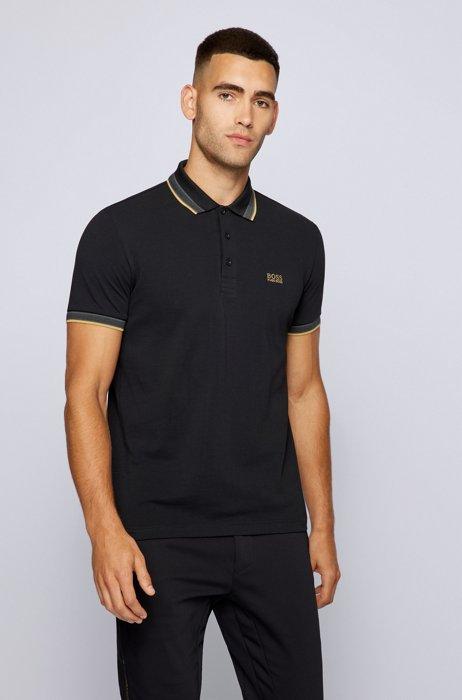 Cotton-piqué polo shirt with contrast undercollar, Dark Grey
