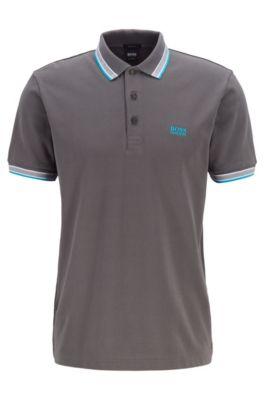 Poloshirt aus Baumwoll-Piqué mit Logo an der Kragenunterseite, Anthrazit