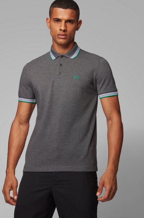 Poloshirt aus Baumwoll-Piqué mit Logo an der Kragenunterseite, Grau