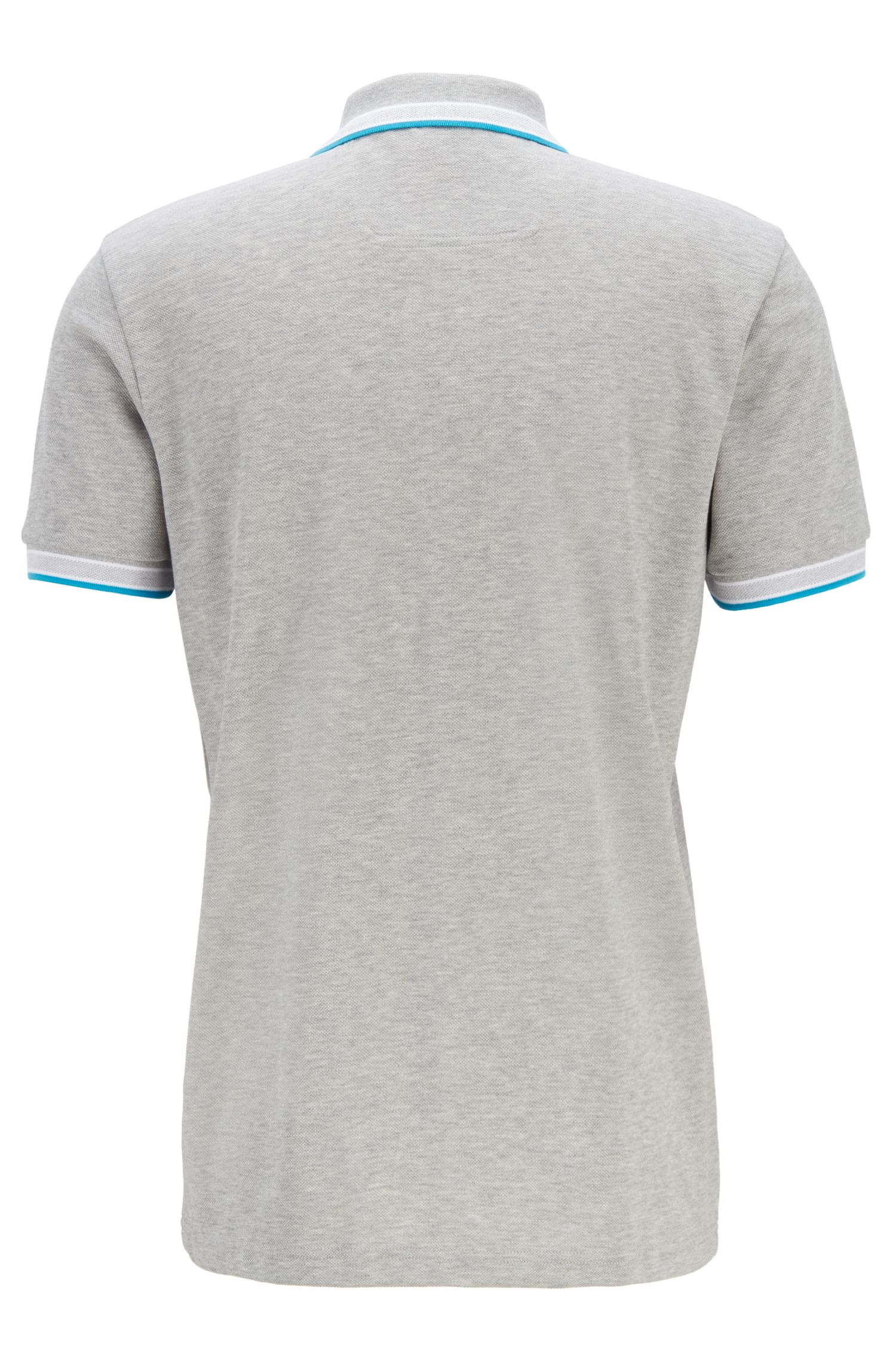 Polo en piqué de coton, avec logo au niveau du sous-col, Gris chiné
