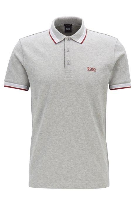 Poloshirt aus Baumwoll-Piqué mit Logo an der Kragenunterseite, Hellgrau