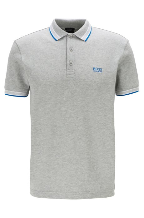 Cotton-piqué polo shirt with logo undercollar, Grey