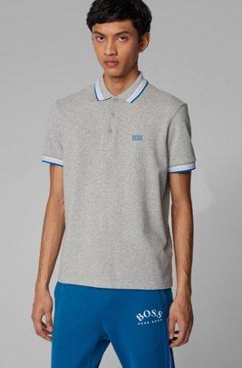 Polo en piqué de coton, avec logo au niveau du sous-col, Gris