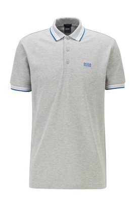 Cotton-piqué polo shirt with logo undercollar, Light Grey