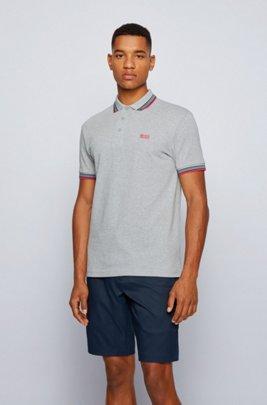 Cotton-piqué polo shirt with logo undercollar, Light Grey