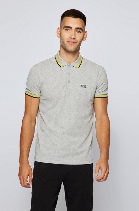 Cotton-piqué polo shirt with contrast undercollar, Light Grey