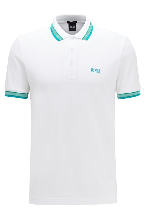 Cotton-piqué polo shirt with logo undercollar, White