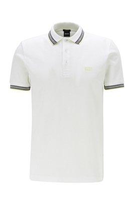 Polo en piqué de coton, avec logo au niveau du sous-col, Blanc