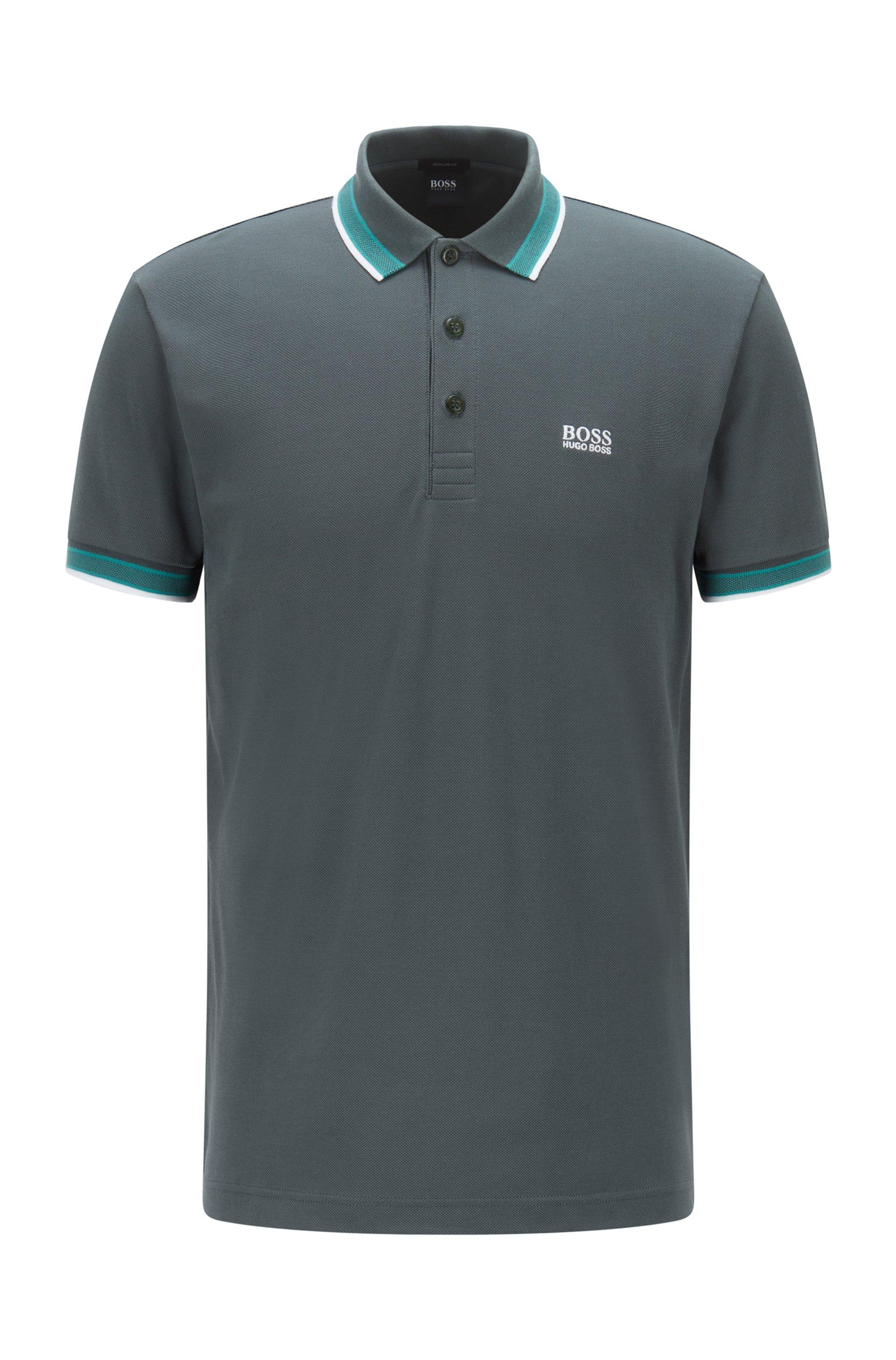 Cotton-piqué polo shirt with logo undercollar, Dark Green