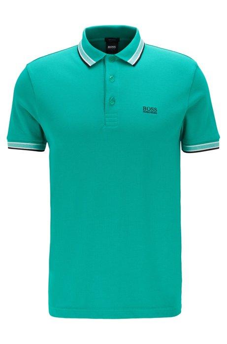 Polo en piqué de coton, avec logo au niveau du sous-col, Vert sombre