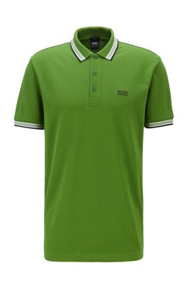 Cotton-piqué polo shirt with logo undercollar, Green