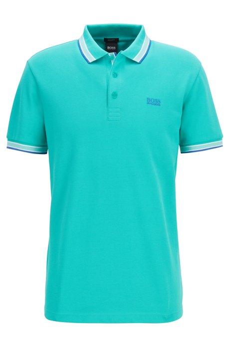 Polo en piqué de coton, avec logo au niveau du sous-col, Chaux