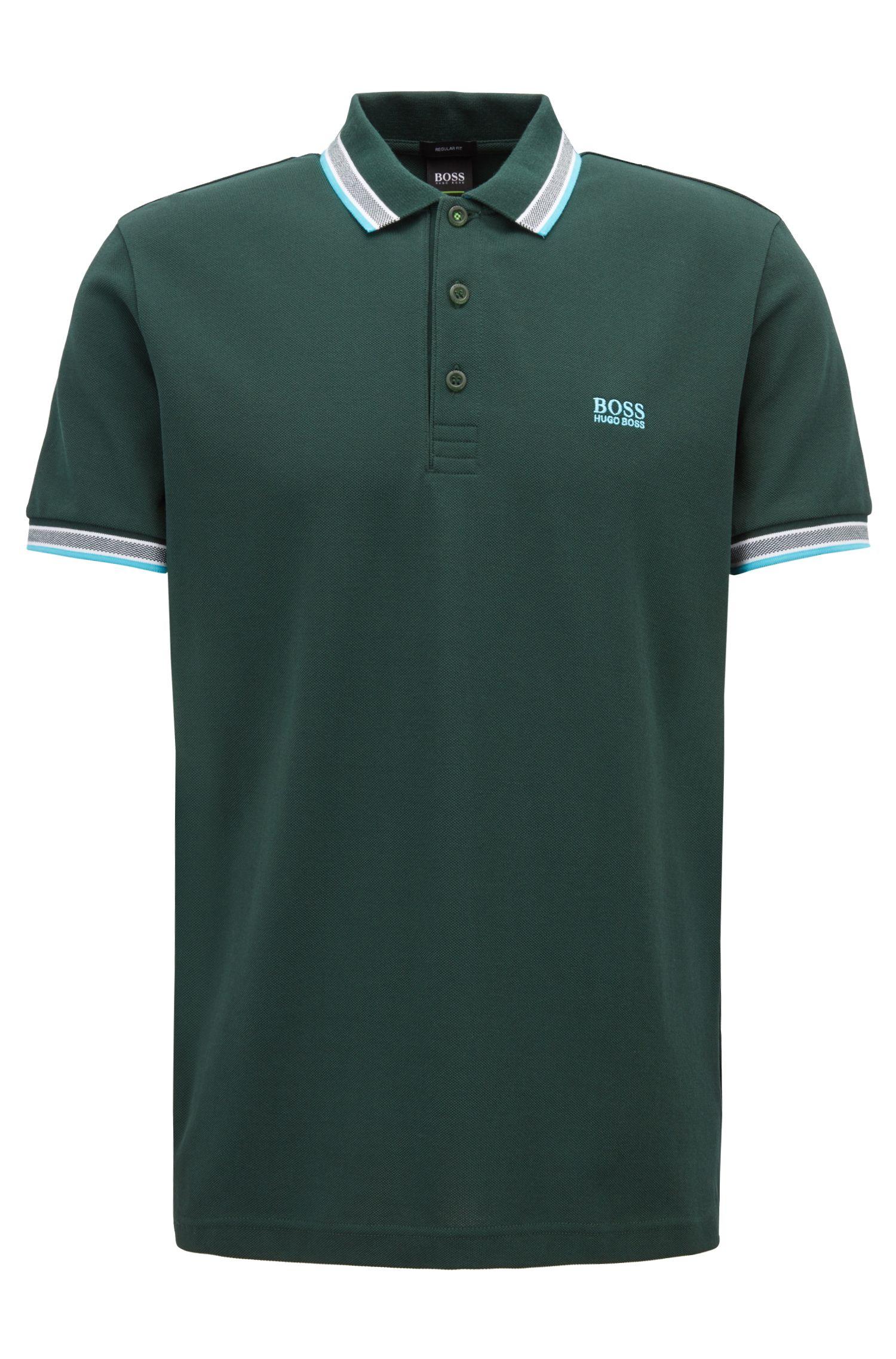 Cotton-piqué polo shirt with logo undercollar, Open Green