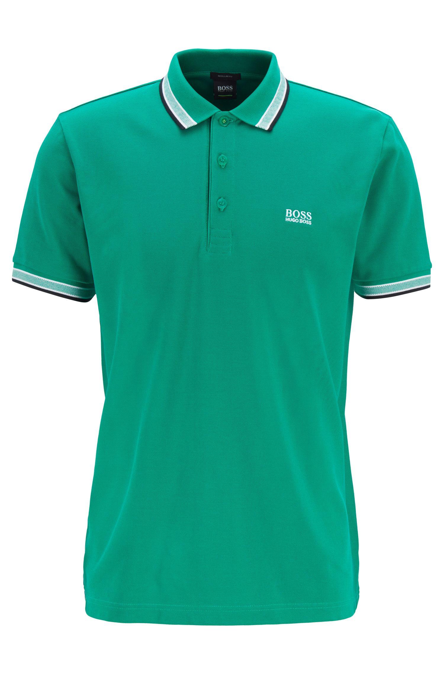 Polo en piqué de coton, avec logo au niveau du sous-col, Vert