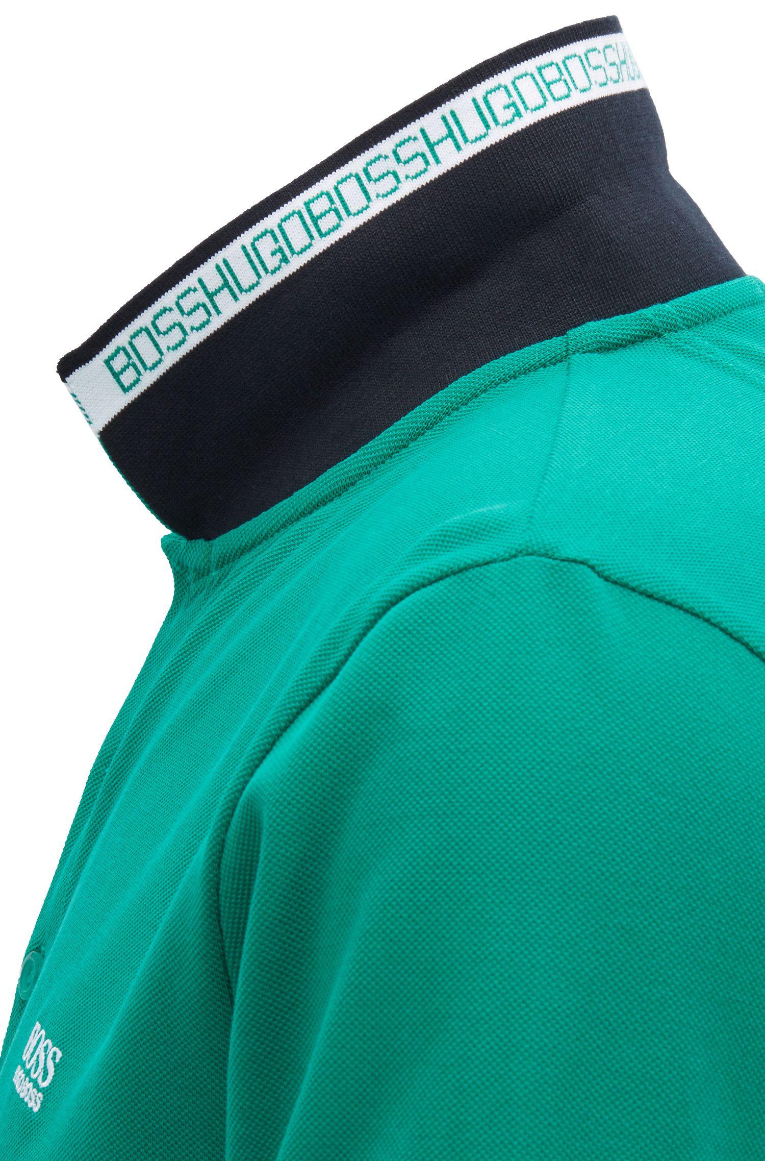 Polo van katoenpiqué met logo aan de onderkant van de kraag, Groen