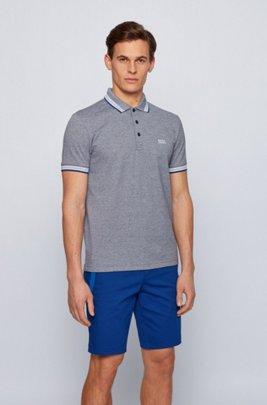Polo en piqué de coton, avec logo au niveau du sous-col, Bleu foncé