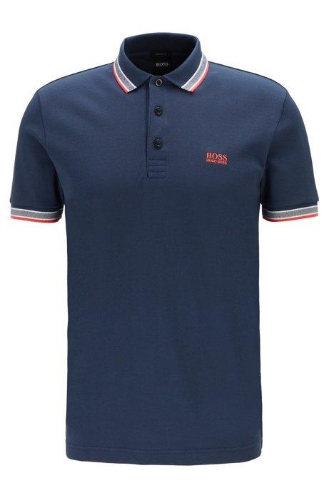 Poloshirt aus Baumwoll-Piqué mit Logo an der Kragenunterseite, Dunkelblau